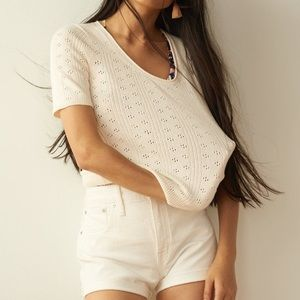 Madewell pointelle willford sweater tee